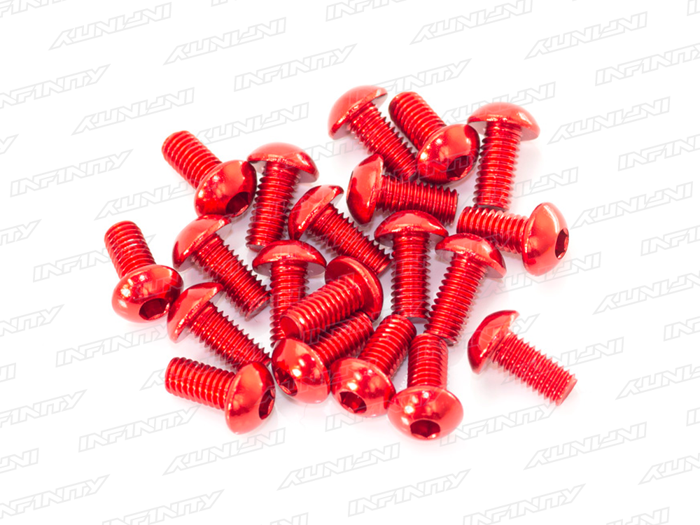 M3x6mm ALU BUTTON HEAD SCREW (Red/20pcs)