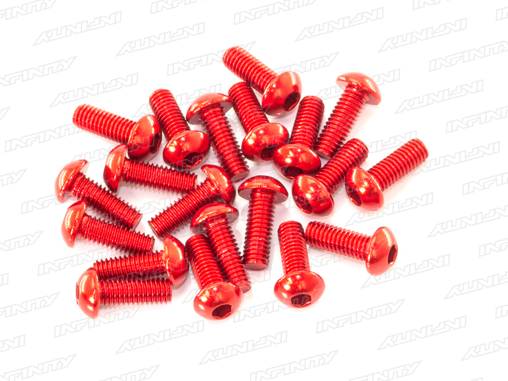 M3x8mm ALU BUTTON HEAD SCREW (Red/20pcs)